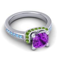 Halo Cushion Aksika Amethyst Ring with Peridot and Swiss Blue Topaz in 14k White Gold