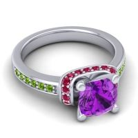 Halo Cushion Aksika Amethyst Ring with Ruby and Peridot in 14k White Gold