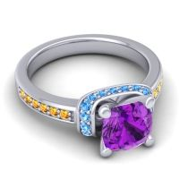 Halo Cushion Aksika Amethyst Ring with Swiss Blue Topaz and Citrine in 18k White Gold