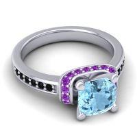 Halo Cushion Aksika Aquamarine Ring with Amethyst and Black Onyx in 14k White Gold