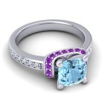 Halo Cushion Aksika Aquamarine Ring with Amethyst and Diamond in Platinum