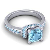 Halo Cushion Aksika Aquamarine Ring in 18k White Gold