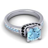 Halo Cushion Aksika Aquamarine Ring with Black Onyx in 14k White Gold