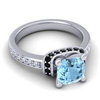 Halo Cushion Aksika Aquamarine Ring with Black Onyx and Diamond in Palladium