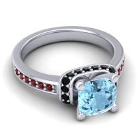 Halo Cushion Aksika Aquamarine Ring with Black Onyx and Garnet in Palladium