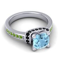 Halo Cushion Aksika Aquamarine Ring with Black Onyx and Peridot in 18k White Gold