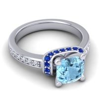 Halo Cushion Aksika Aquamarine Ring with Blue Sapphire and Diamond in Platinum