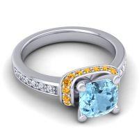 Halo Cushion Aksika Aquamarine Ring with Citrine and Diamond in Palladium