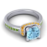 Halo Cushion Aksika Aquamarine Ring with Citrine and Peridot in Platinum