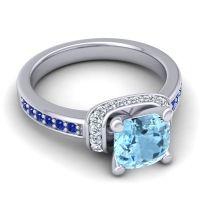 Halo Cushion Aksika Aquamarine Ring with Diamond and Blue Sapphire in Palladium
