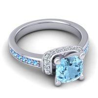 Halo Cushion Aksika Aquamarine Ring with Diamond and Swiss Blue Topaz in 14k White Gold