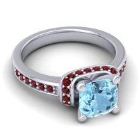Halo Cushion Aksika Aquamarine Ring with Garnet in Palladium