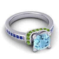 Halo Cushion Aksika Aquamarine Ring with Peridot and Blue Sapphire in Palladium