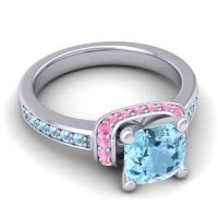 Halo Cushion Aksika Aquamarine Ring with Pink Tourmaline in 18k White Gold