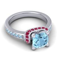 Halo Cushion Aksika Aquamarine Ring with Ruby in Platinum