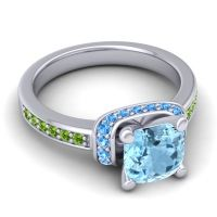 Halo Cushion Aksika Aquamarine Ring with Swiss Blue Topaz and Peridot in 14k White Gold