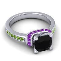 Halo Cushion Aksika Black Onyx Ring with Amethyst and Peridot in Platinum