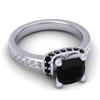 Halo Cushion Aksika Black Onyx Ring with Diamond in Palladium