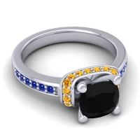 Halo Cushion Aksika Black Onyx Ring with Citrine and Blue Sapphire in 14k White Gold