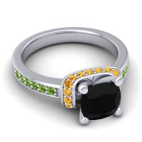 Halo Cushion Aksika Black Onyx Ring with Citrine and Peridot in Platinum