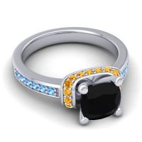 Halo Cushion Aksika Black Onyx Ring with Citrine and Swiss Blue Topaz in Platinum