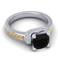 Halo Cushion Aksika Black Onyx Ring with Diamond and Citrine in Palladium