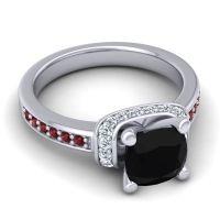 Halo Cushion Aksika Black Onyx Ring with Diamond and Garnet in 18k White Gold