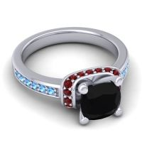 Halo Cushion Aksika Black Onyx Ring with Garnet and Swiss Blue Topaz in 18k White Gold