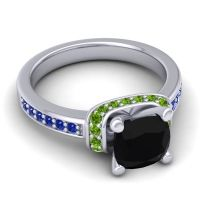 Halo Cushion Aksika Black Onyx Ring with Peridot and Blue Sapphire in Platinum