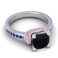 Halo Cushion Aksika Black Onyx Ring with Pink Tourmaline and Blue Sapphire in Platinum