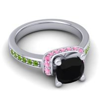 Halo Cushion Aksika Black Onyx Ring with Pink Tourmaline and Peridot in 14k White Gold