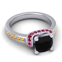 Halo Cushion Aksika Black Onyx Ring with Ruby and Citrine in 14k White Gold