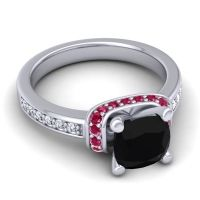 Halo Cushion Aksika Black Onyx Ring with Ruby and Diamond in 18k White Gold