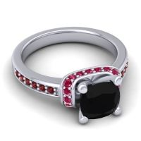 Halo Cushion Aksika Black Onyx Ring with Ruby and Garnet in Palladium