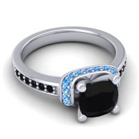 Halo Cushion Aksika Black Onyx Ring with Swiss Blue Topaz in Palladium