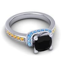 Halo Cushion Aksika Black Onyx Ring with Swiss Blue Topaz and Citrine in 18k White Gold