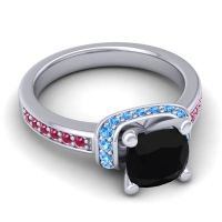 Halo Cushion Aksika Black Onyx Ring with Swiss Blue Topaz and Ruby in 14k White Gold