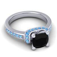 Halo Cushion Aksika Black Onyx Ring with Swiss Blue Topaz in 18k White Gold