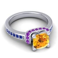 Halo Cushion Aksika Citrine Ring with Amethyst and Blue Sapphire in Platinum