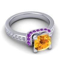 Halo Cushion Aksika Citrine Ring with Amethyst and Diamond in 14k White Gold