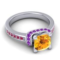 Halo Cushion Aksika Citrine Ring with Amethyst and Ruby in 14k White Gold