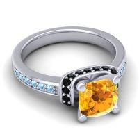 Halo Cushion Aksika Citrine Ring with Black Onyx and Aquamarine in 14k White Gold
