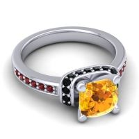 Halo Cushion Aksika Citrine Ring with Black Onyx and Garnet in 18k White Gold