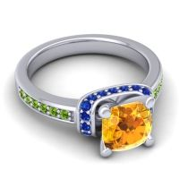 Halo Cushion Aksika Citrine Ring with Blue Sapphire and Peridot in Palladium