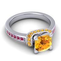 Halo Cushion Aksika Citrine Ring with Ruby in 14k White Gold