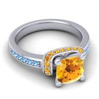 Halo Cushion Aksika Citrine Ring with Swiss Blue Topaz in Palladium