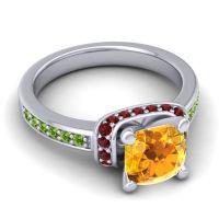 Halo Cushion Aksika Citrine Ring with Garnet and Peridot in Palladium