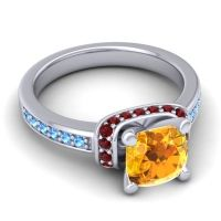 Halo Cushion Aksika Citrine Ring with Garnet and Swiss Blue Topaz in Platinum