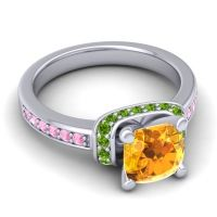 Halo Cushion Aksika Citrine Ring with Peridot and Pink Tourmaline in Palladium