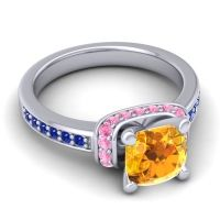 Halo Cushion Aksika Citrine Ring with Pink Tourmaline and Blue Sapphire in 14k White Gold